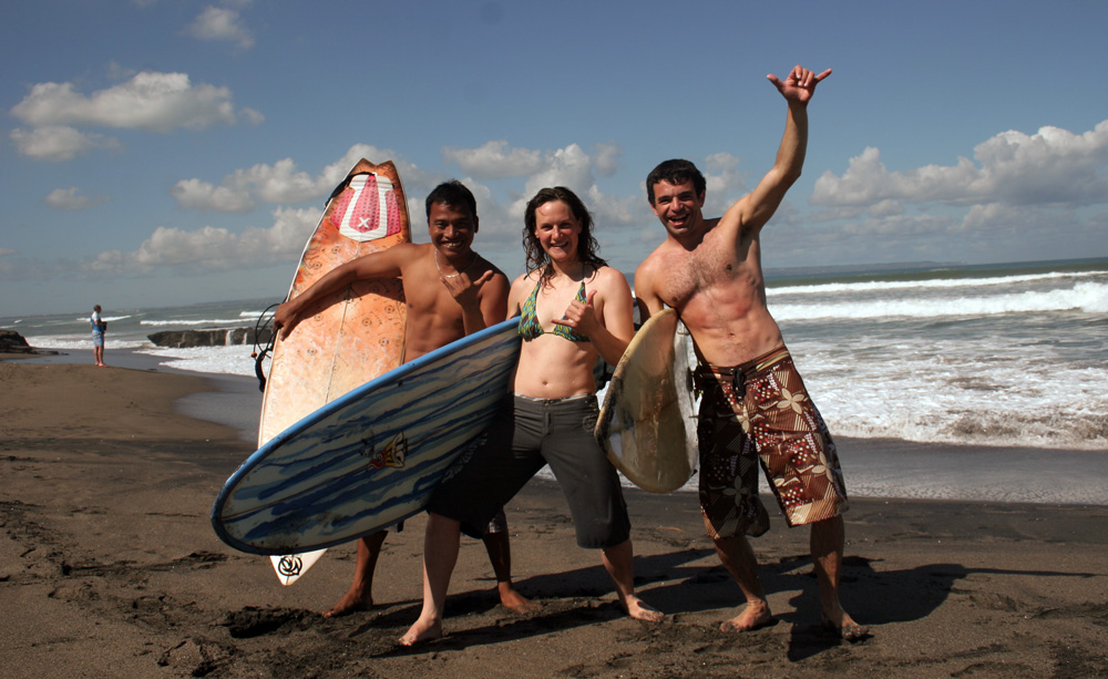 My surfing buddies Nyoman and Jake