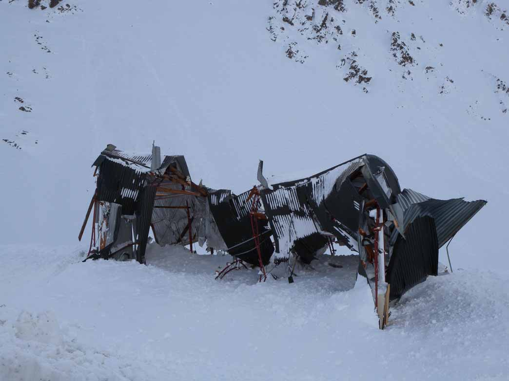The tool shed was destroyed by an avalanche