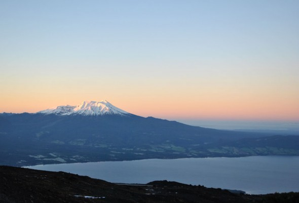 Volcan Calbuco and Lake Llanquihue in the morning light