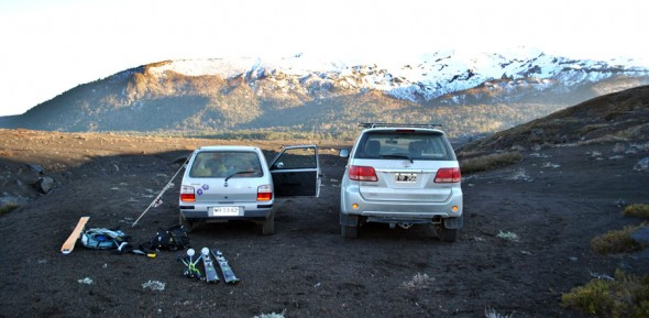 Our cars at Llaima Volcano
