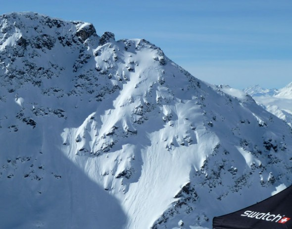 The women's venue to the lookers right of the Bec du Rosse at the 2013 Verbier Xtreme, taken on inspection day
