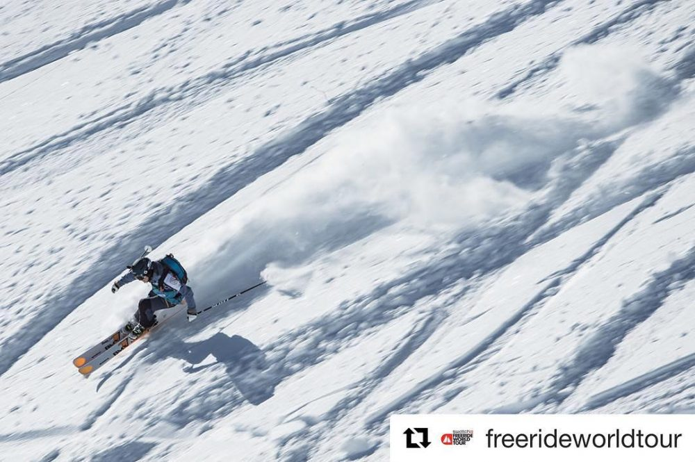 Repost freerideworldtour ??? When lorrainehuber was on her way tohellip