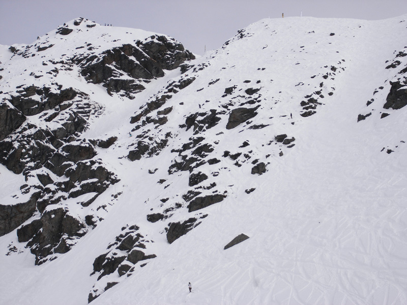 The finals venue, the Alta Chutes at the Remarkables ski area
