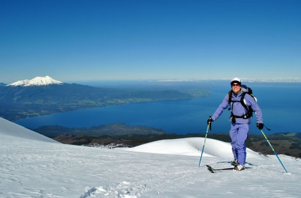 Hiking up with Volcano Calbuco in the distance