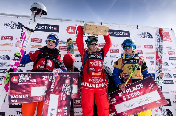The female ski podium for the Verbier Xtreme 2013 (f.l.t.r. Lorraine Huber, Matilda Rapaport, Nadine Wallner)